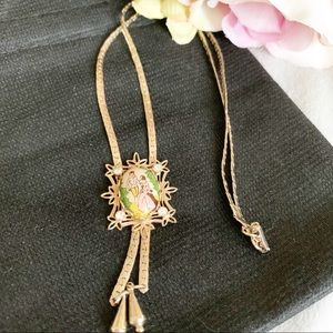 Goldette Gold Tone Victorian Lariat Necklace Vtg